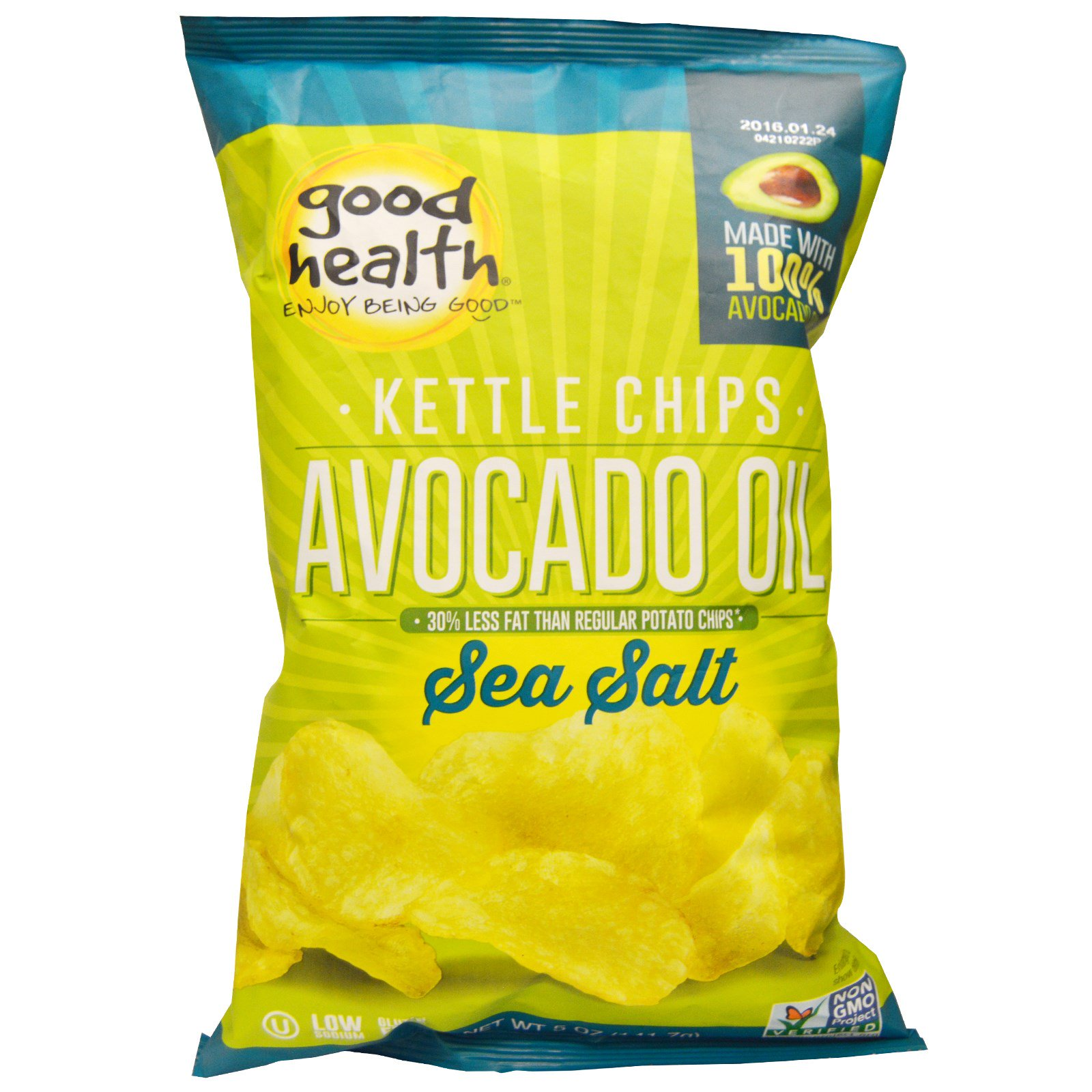 Good Health Natural Foods, Kettle Chips, Avocado Oil, Sea Salt, 5 oz (pack of 2) by
