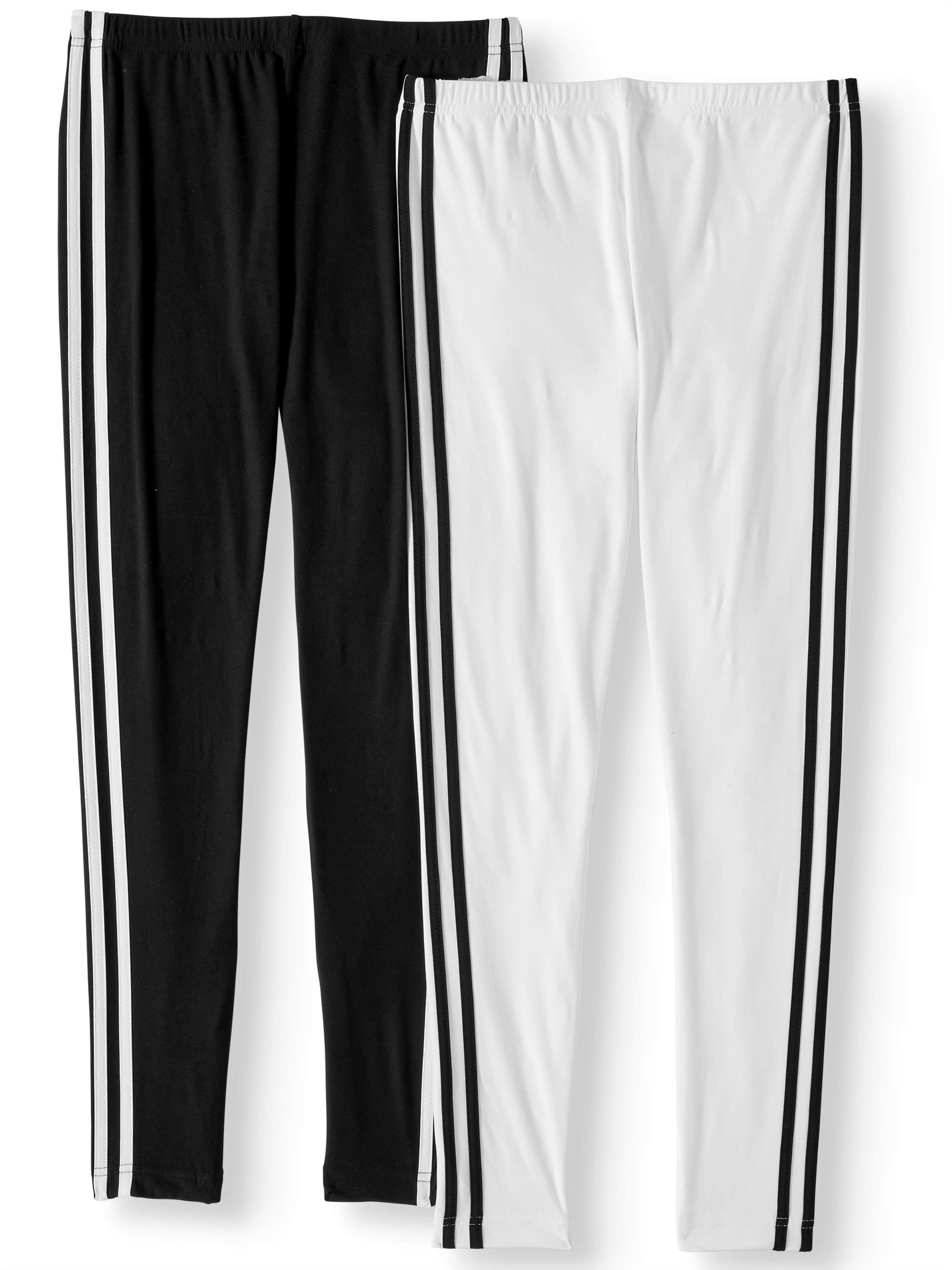 Juniors' Side Stripe Print and Solid Ankle Leggings 2-Pack Value Bundle