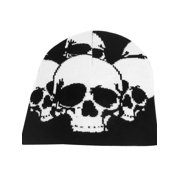 Unique Bargains Black White Skull Head Print Stretchy Kniting Warm Beanie Hat Cap for Men's Lady