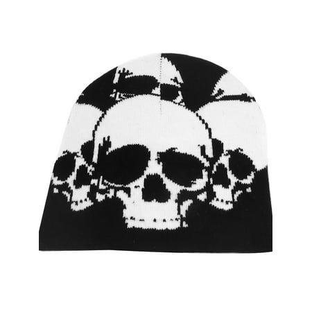 Black Beanie Skull Cap (Unique Bargains Black White Skull Head Print Stretchy Kniting Warm Beanie Hat Cap for Men's Lady )
