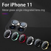 For iphone 11/11 Pro Max Metal Camera Lens Screen Protector Cover for iPhone 11 Pro Ring Bumper(Black)