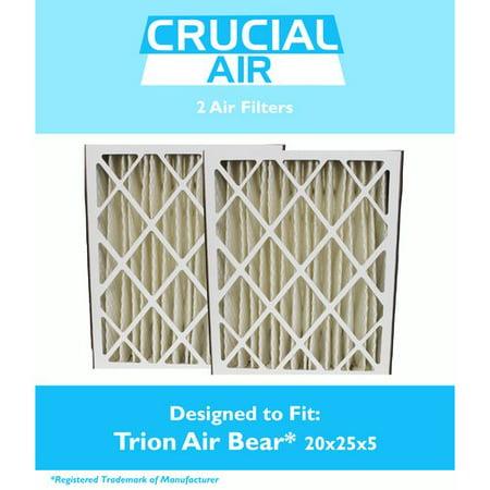 2 Trion Air Bear Filter 255649-102 Pleated Furnace Air Filter 20x25x5 MERV 8 ()