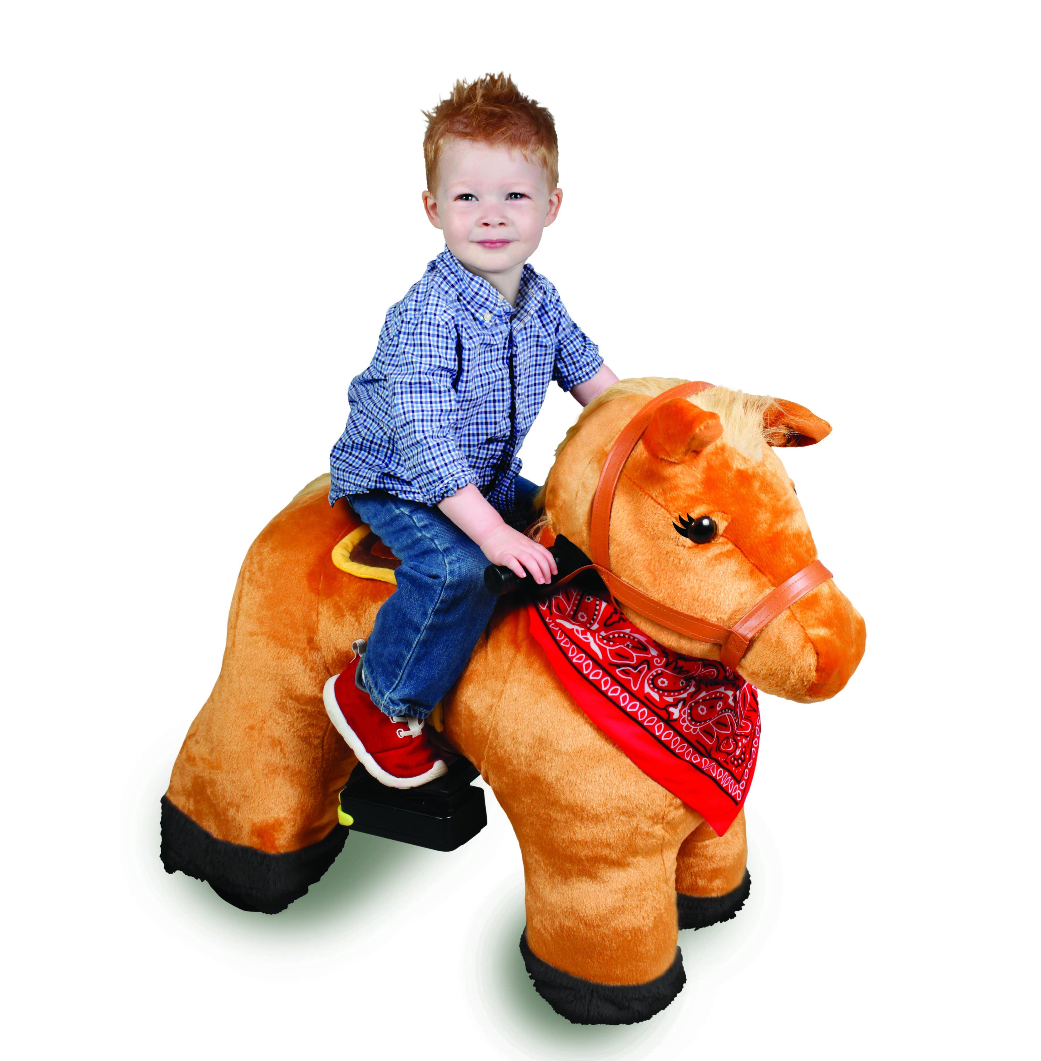 6V Stable Buddies Chestnut Horse Plush Ride-On by Dynacraft