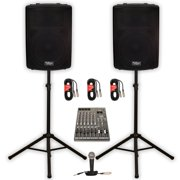"""Podium Pro PP1502A Powered 15"""" PA DJ Speaker Pair with 12 Channel Mixer Mic Stands and Cables"""