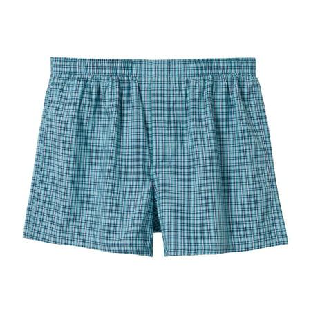 bossini Metropolitan Men - Check Print Woven Boxers Green XL, Waist
