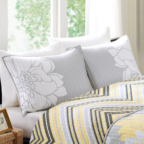 Better Homes and Gardens Yellow Floral Shams, Grey/Yellow, Set of 2