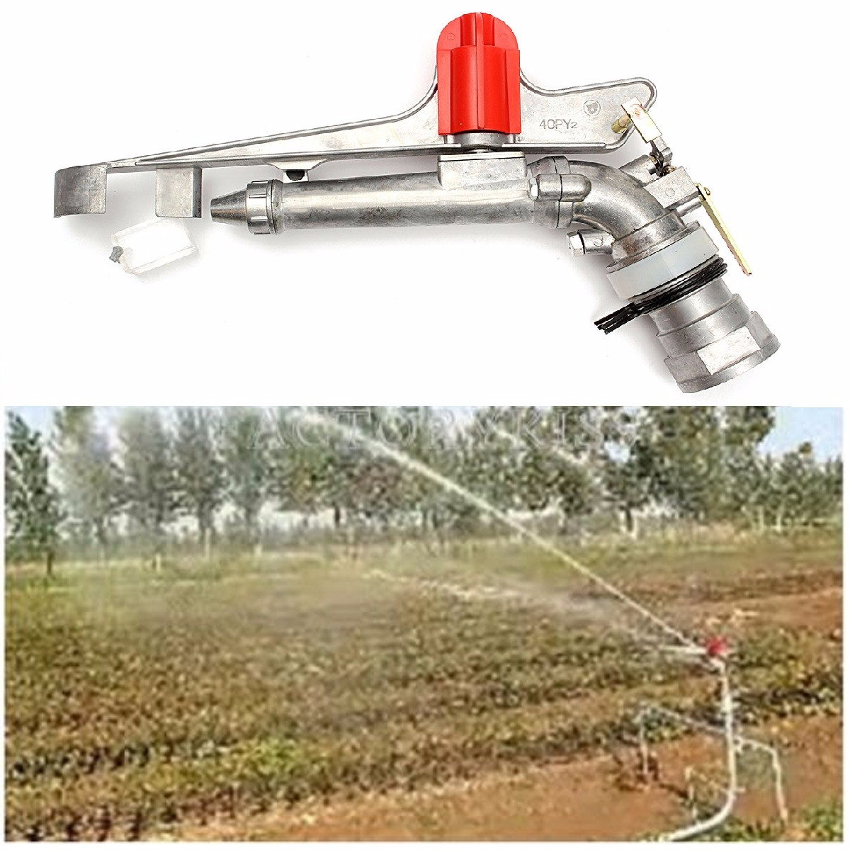 2.2'' 360°Adjustable Impact Sprinkler Gun Water Irrigation Lawn Spray Gun