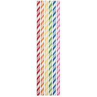 """Club Pack of 144 Multi-Colored Candy Striped Paper Drinking Straw Party Favors 7.75"""""""