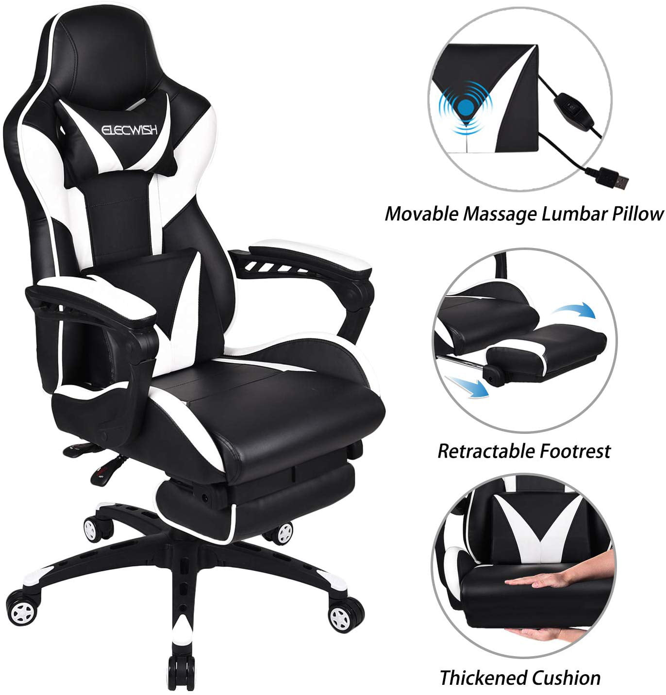 Elecwish Massage Computer Gaming Chair Reclining Ergonomic Racing Office Chair With Footrest High Back Pu Leather Gaming Desk Chair Large Size E Sport Chair With Headrest And Lumbar Support Walmart Com Walmart Com
