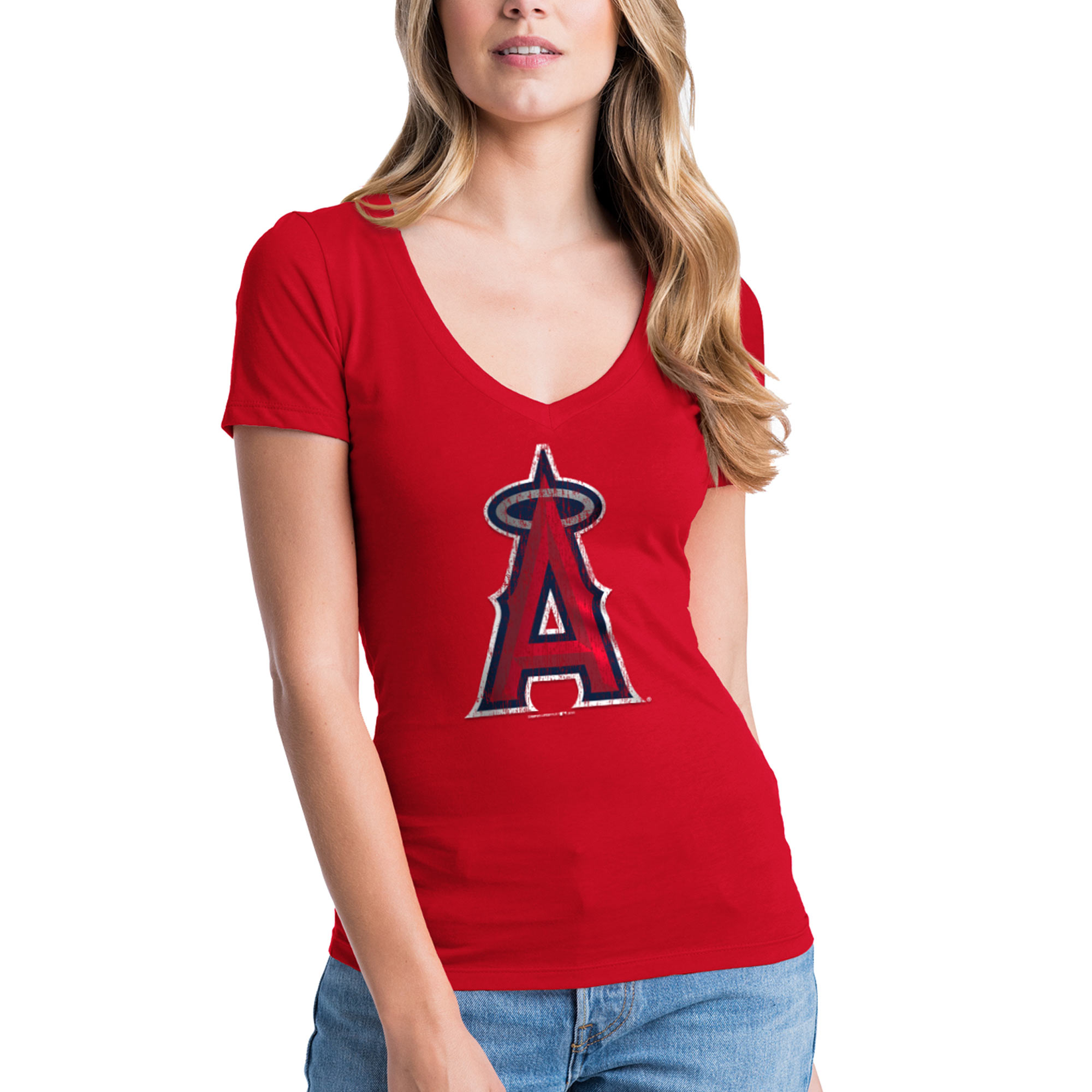 Los Angeles Angels New Era Women's V-Neck T-Shirt - Red