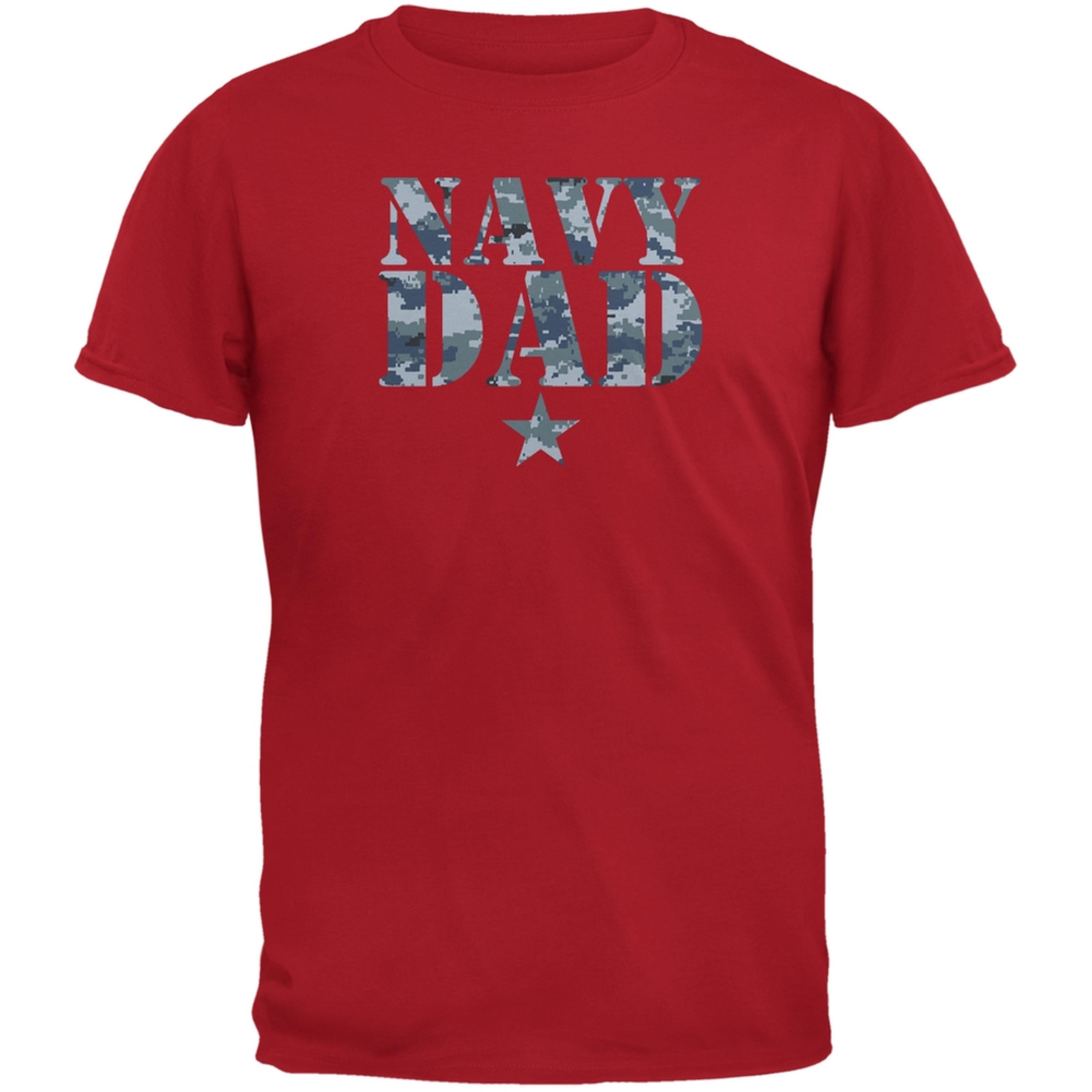 Navy Dad Red Adult T-Shirt