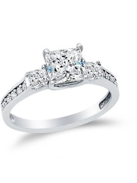 Solid 14k White Gold Princess Cut Three 3 Stone Wedding Engagement Ring, CZ Cubic Zirconia (1.75 ct.) , Size 8.5