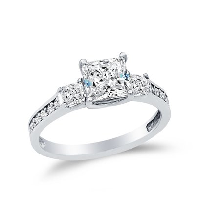 Solid 14k White Gold Princess Cut Three 3 Stone Wedding Engagement Ring, CZ Cubic Zirconia (1.75 ct.) , Size
