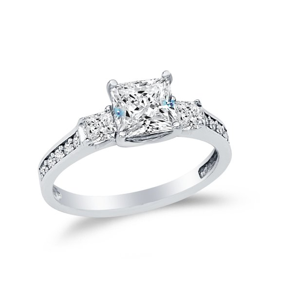 Aa Jewels Solid 14k White Gold Princess Cut Three 3 Stone Wedding Engagement Ring Cz Cubic Zirconia 1 75 Ct Size 8 5 Walmart Com Walmart Com