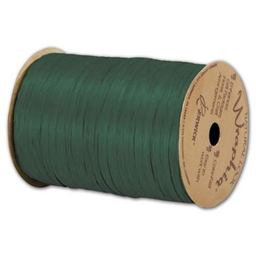 Deluxe Small Business Sales 74900-64 0. 25 inch x 100 yds.  Matte Wraphia Ribbon, Hunter Green