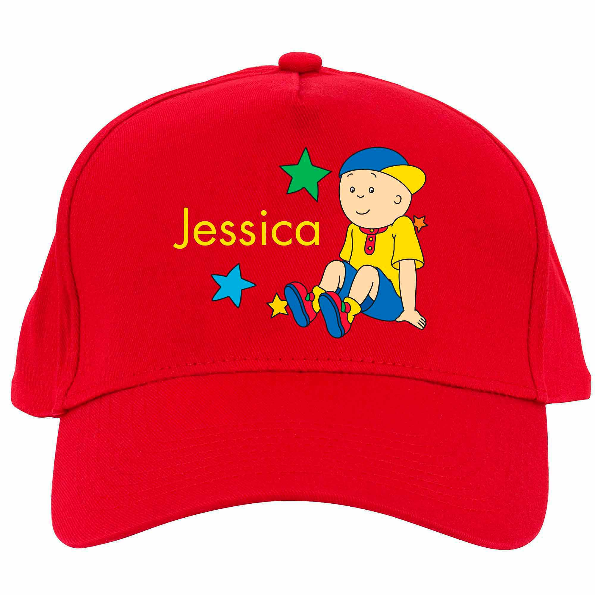 Personalized Caillou Sitting in the Stars Red Baseball Cap