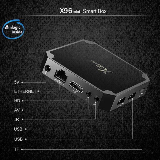 Zimtown X96 mini Quad Core S905W Android 7 1 2 4K*2K 2GB+16GB Media TV Box  Player