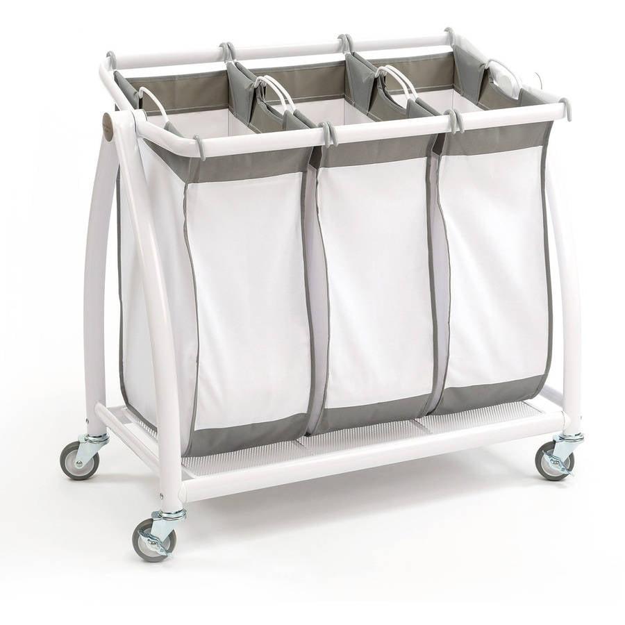 Seville Classics Premium 3-Bag Heavy-Duty Tilt Laundry Hamper Sorter Cart by Seville Classics