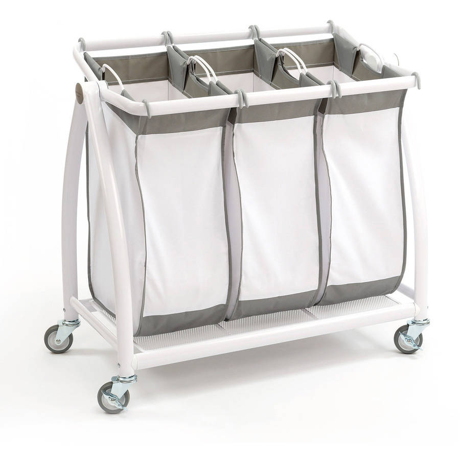 Seville Classics 3-Bag Laundry Sorter, Curved White