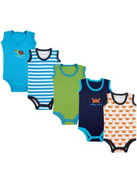 Luvable Friends Baby Boy Sleeveless Bodysuits, 5-pack