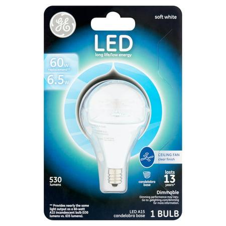 - GE LED 6.5W Small Base Soft White A15 Ceiling Fan Bulb 1pk