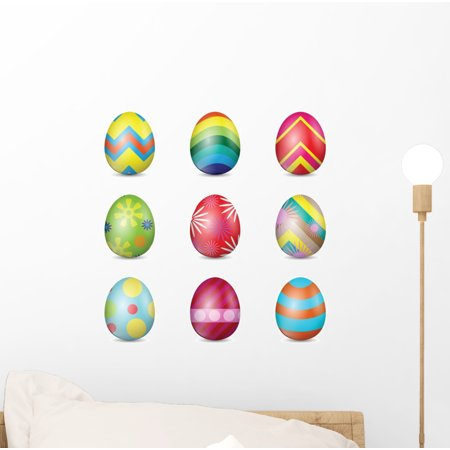 Colorful Easter Eggs Wall Decal Sticker, Wallmonkeys Peel & Stick Vinyl Graphic (12 in H x 12 in