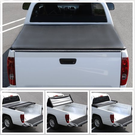 Spec-D Tuning For 2015-2019 Ford F150 Super Crew Cab 6.5ft Bed Black Tri-Fold Trifold Soft Tonneau Cover 2015 2016 2017 2018