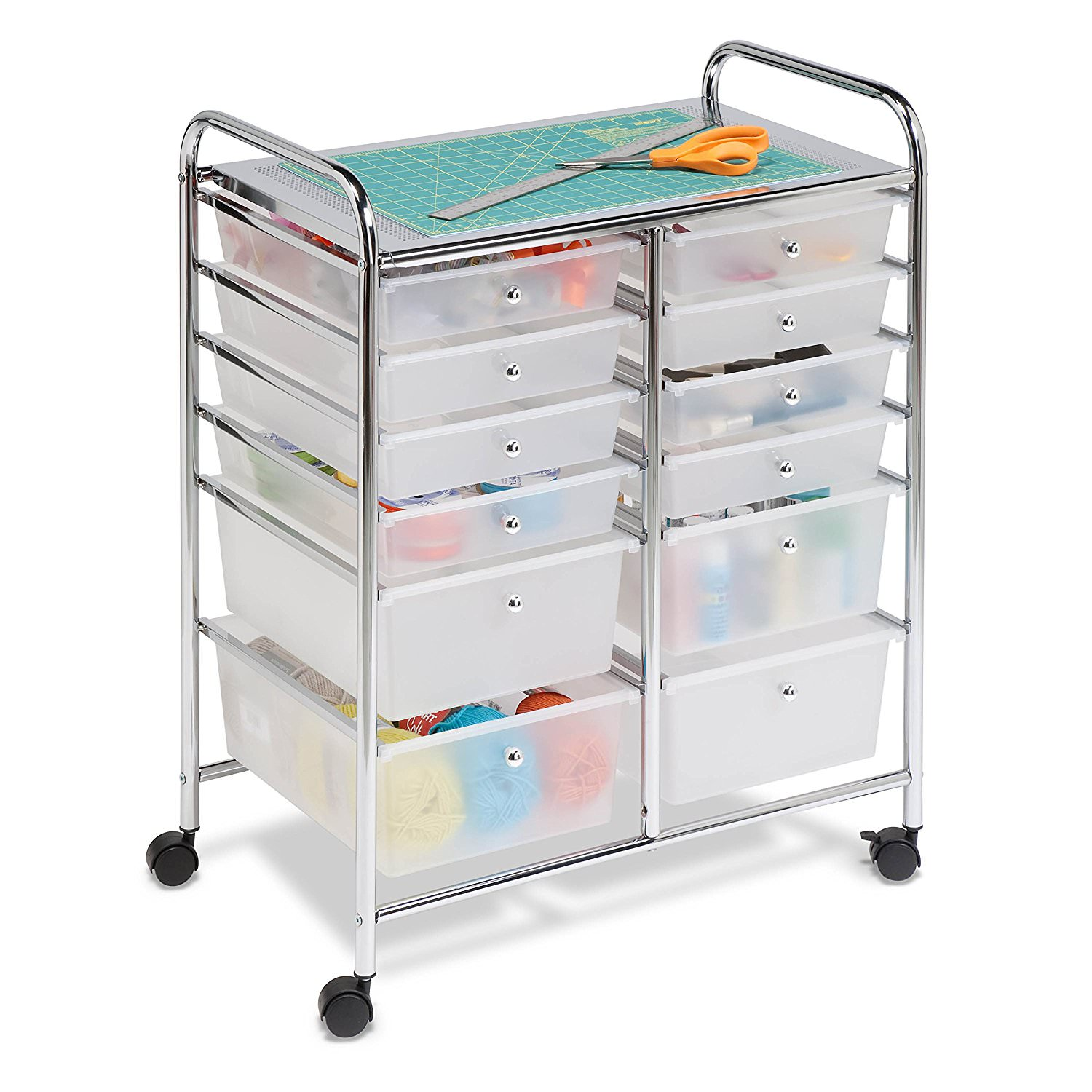 Honey Can Do Doublewide 12 Drawer Rolling Cart, Chrome/Clear