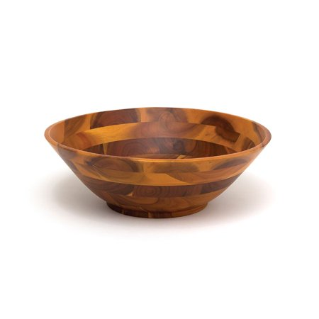 Lipper International Acacia Footed 12 Inch Kitchen Home Wooden Salad Bowl, Brown