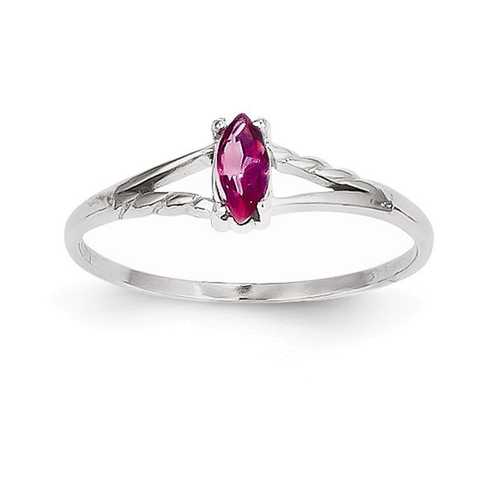 14k White Gold Pink Tourmaline Birthstone Ring by