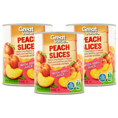 (3 Pack) Great Value Peach Slices in Peach & Pear Juice, 29 oz