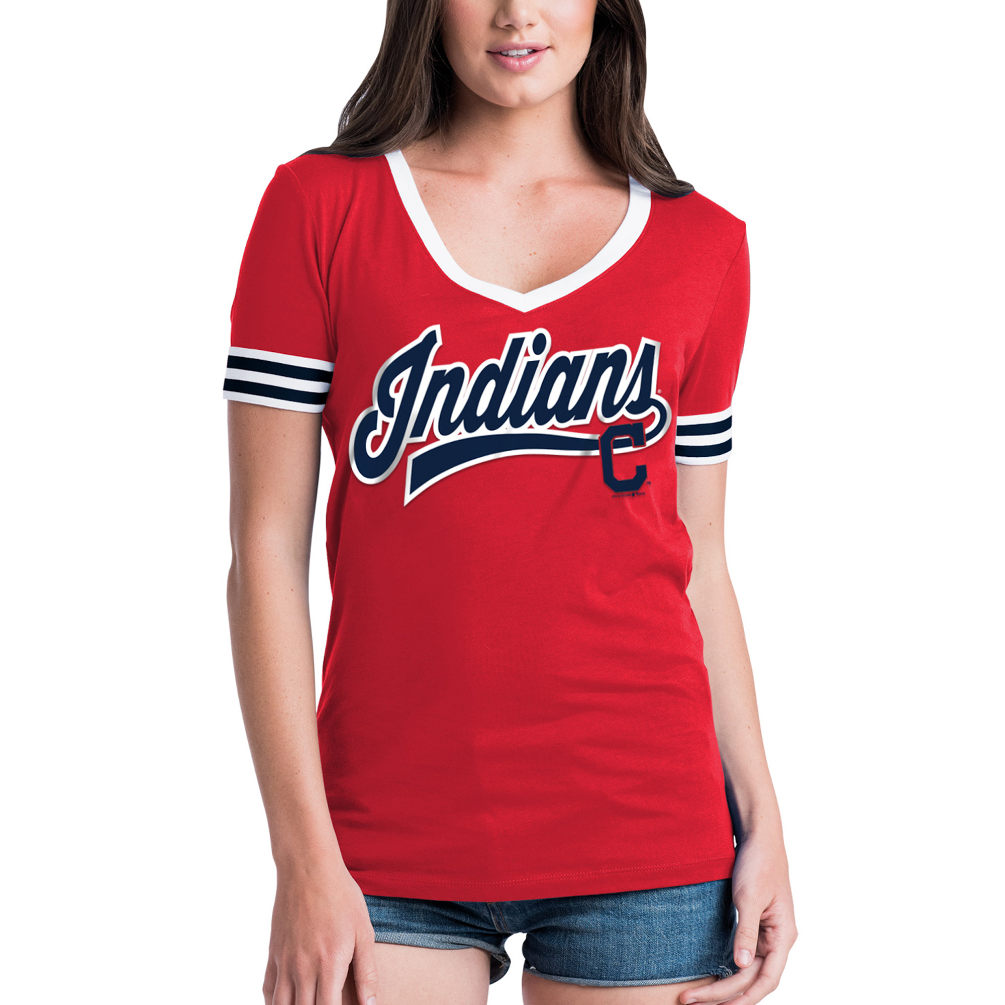 Cleveland Indians 5th & Ocean by New Era Women's Baby Jersey Contrast Sleeve T-Shirt - Red