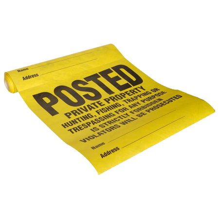 Hillman Group 843388 11 x 11 in. Yellow Tyvek Posted Private Property Violators Will Be Prosecuted Sign - 25 Piece Roll - 5 (Private Property Keep Out Signs For Sale)