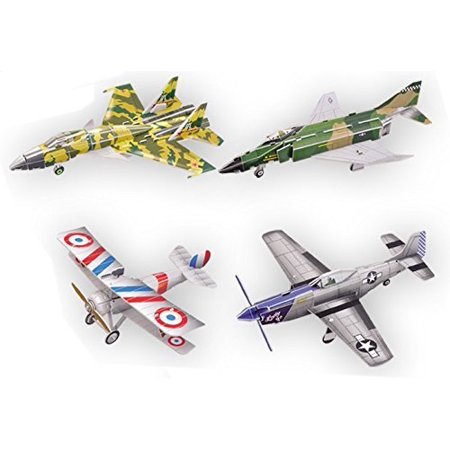 Top Race 3D Puzzle, Fighter Jets Airplane Puzzle, No Glue, No Scissors, Easy to Assemble. Fighter History, Set of 4 Planes (91 Pieces)