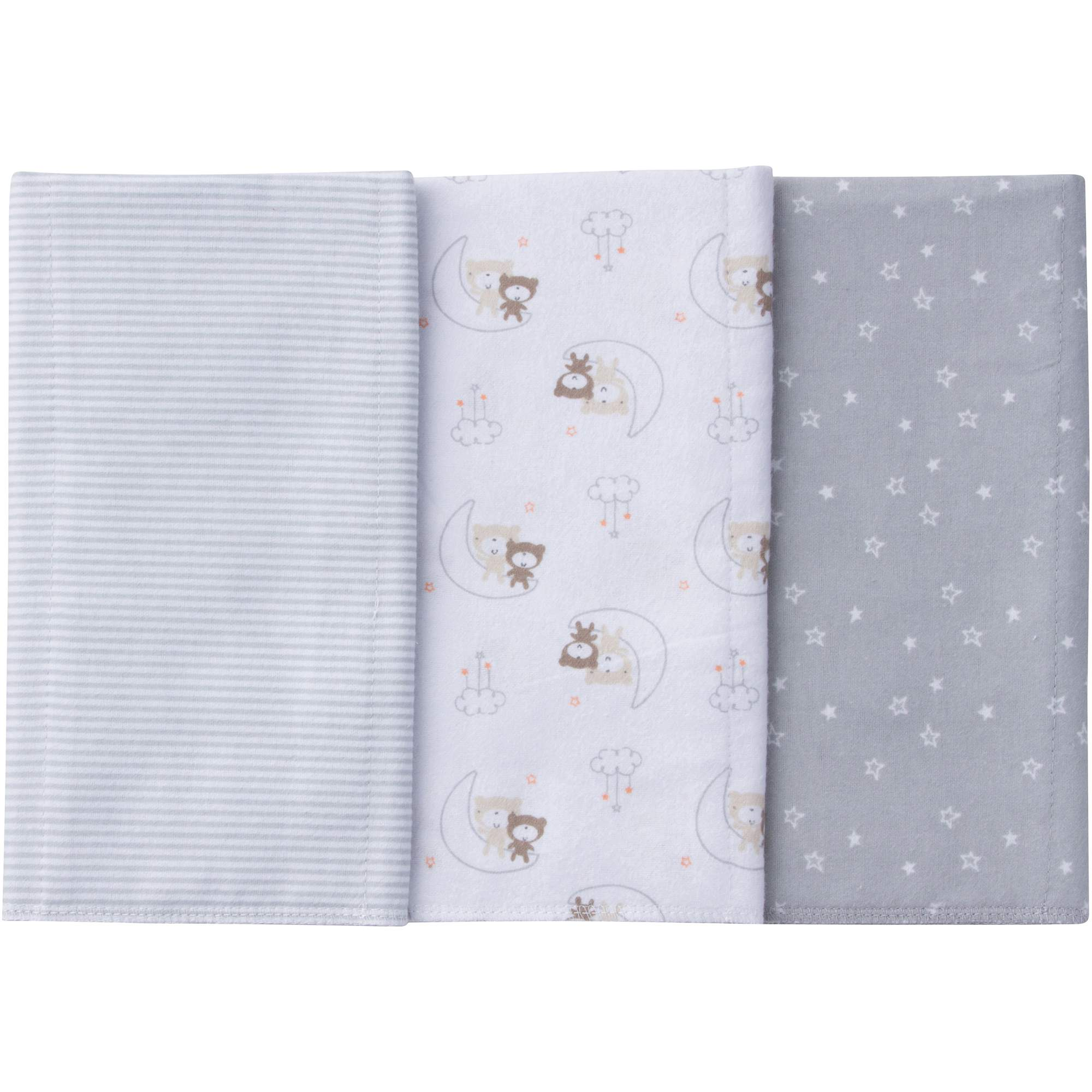 Image of Gerber Newborn Baby Boy or Girl Unisex Assorted Flannel Burp Cloths, 3-Pack