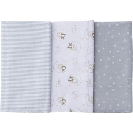 Image of Gerber Newborn Baby Boy or Girl Unisex Assorted Flannel Burp Cloths, 3-Pack