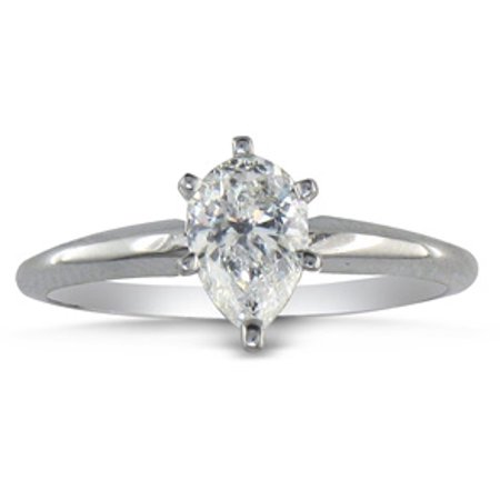 1/2ct Pear Shaped Diamond Solitaire Ring in 14k White Gold (Wear Pear Shaped Ring)