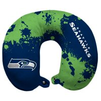 Seattle Seahawks Splatter Polyester Snap Closure Travel Pillow - Blue - No Size