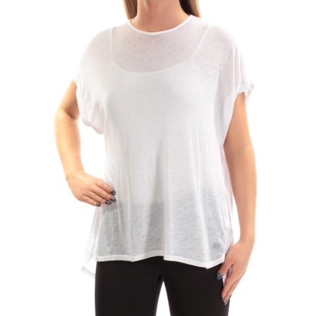 - TOMMY HILFIGER Womens White Textured  Mesh Short Sleeve Crew Neck Active Wear Top  Size: M
