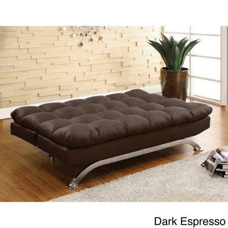 Furniture of America Pascoe Bicast Leather Sofa/ Futon Dark Espresso ...