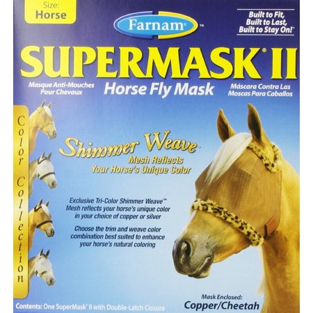 Equine Fly Masks - Farnam SuperMask II Horse Fly Mask Copper/Cheetah | Mesh Equine Eye Care