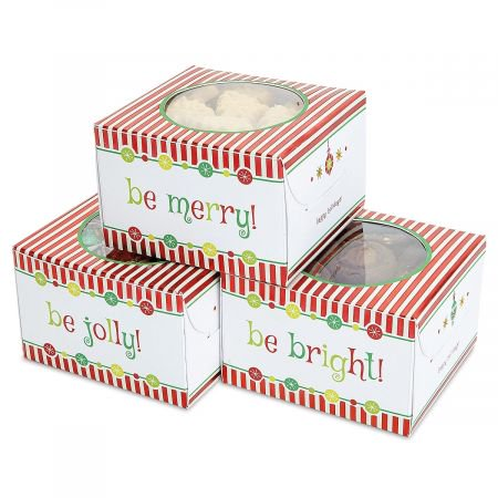 Christmas Gift Boxes For Cookies (Christmas Cookie Boxes- Set of 3 Festive Holiday Treat)