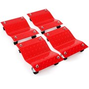 4 - Red 12 Inches Tire Premium Skates Wheel Car Dolly Ball Bearings Skate Makes Moving a Car Easy Furniture Movers