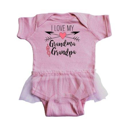 I Love my Grandma and Grandpa heart and arrows Infant Tutu Bodysuit Grandma Funny Infant Bodysuit