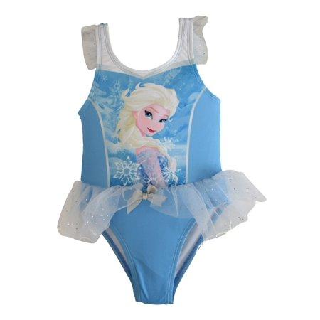 Disney Little Toddler Girls Blue Frozen Elsa Tutu One-Piece UPF50+ Swimsuit - Frozen Center Pieces