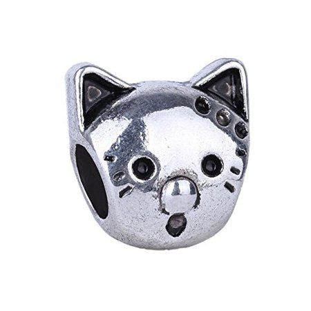 Buckets of Beads Cat Face Charm Beads Fits Most Major Charm Bracelets For Women Girls