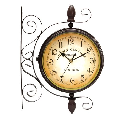 Meigar Wrought Iron Vintage-inspired Rotatable Double Sided Wall Clock - Double Faced Train Station Style Round Chandelier Wall Hanging Metal Clock Home Décor Wall Clock Art Clock