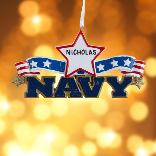 Personalized Navy Ornament