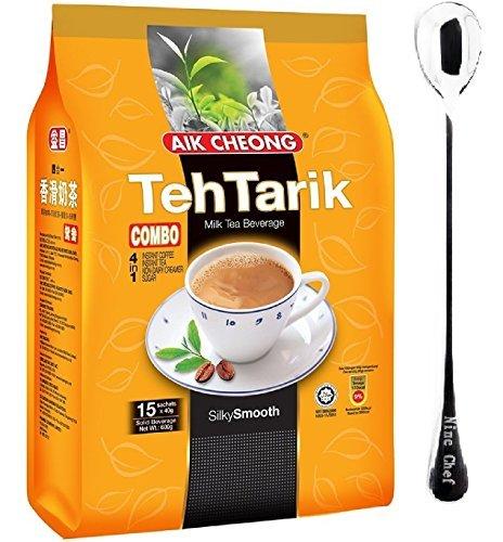 Aik Cheong Combo Teh Tarik (instant coffee and Tea) Milk Tea Beverage (1 Pack)+ one NineChef Spoon