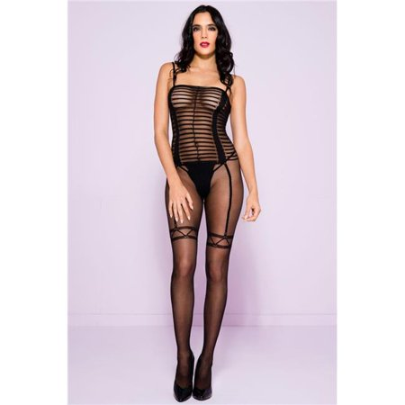 8d81df564c Music Legs - Music Legs 1608-BLACK Sheer Striped Crotchless Bodystocking  with Garter Print  44  Black - Walmart.com